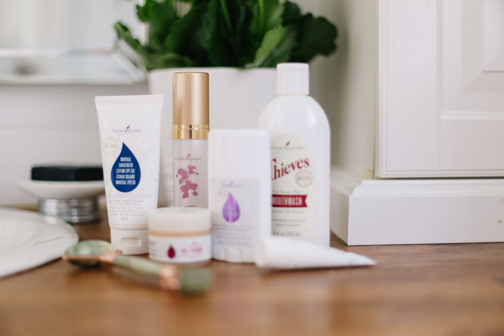 Young Living products on bathroom counter