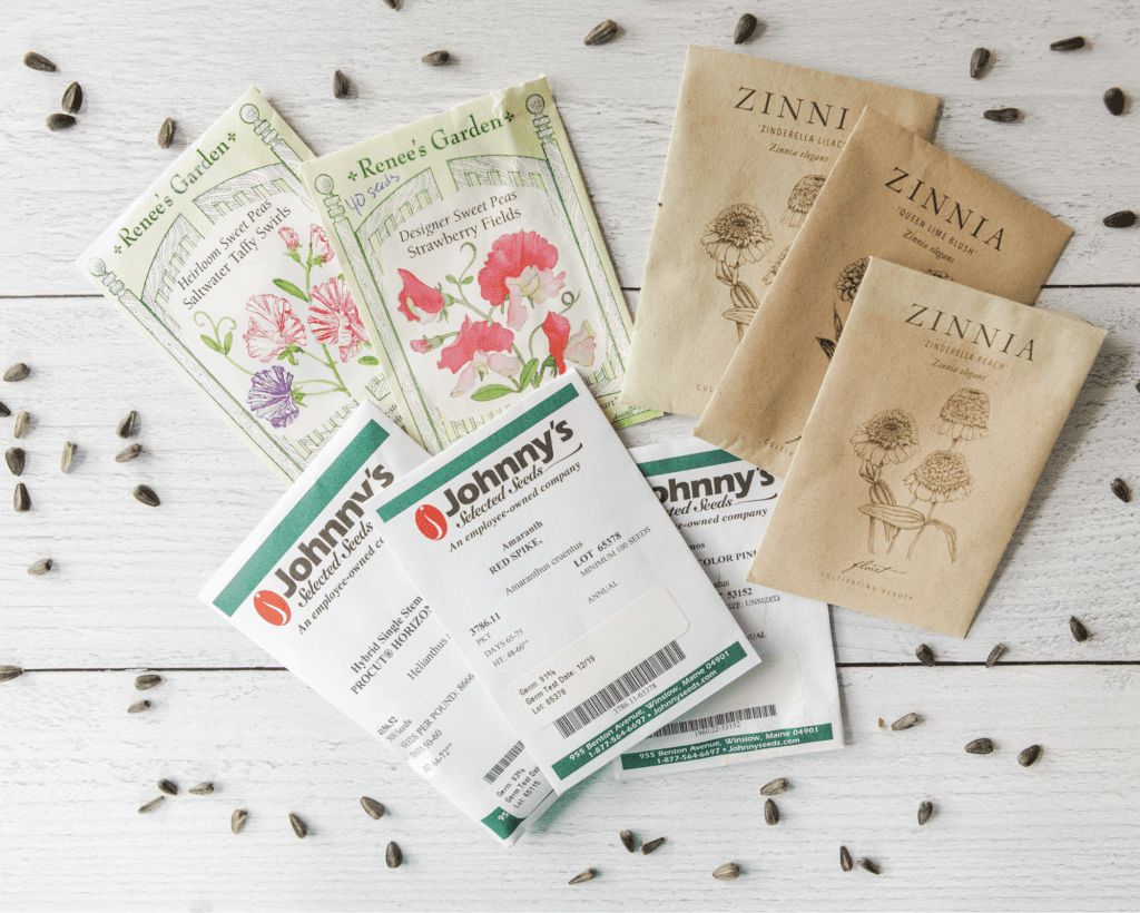 Seed packets for cut flower garden
