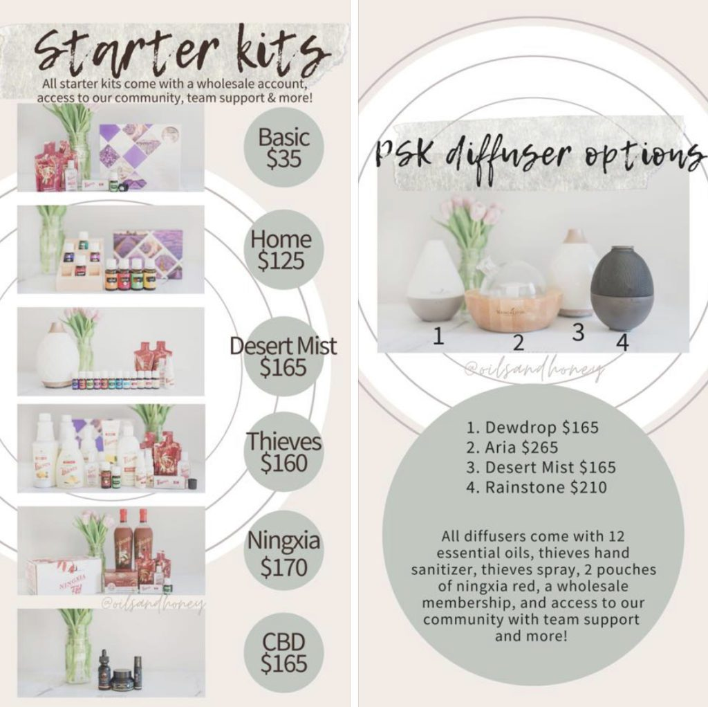 Young Living essential oil starter kit options for the US market graphic