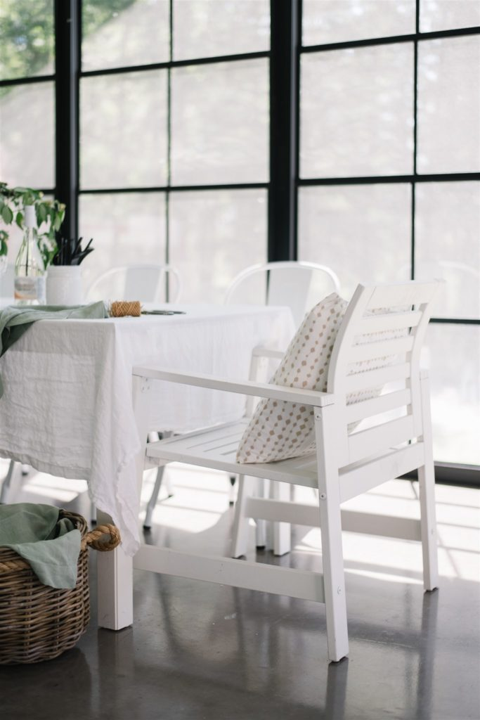 Outdoor dining space with pillow
