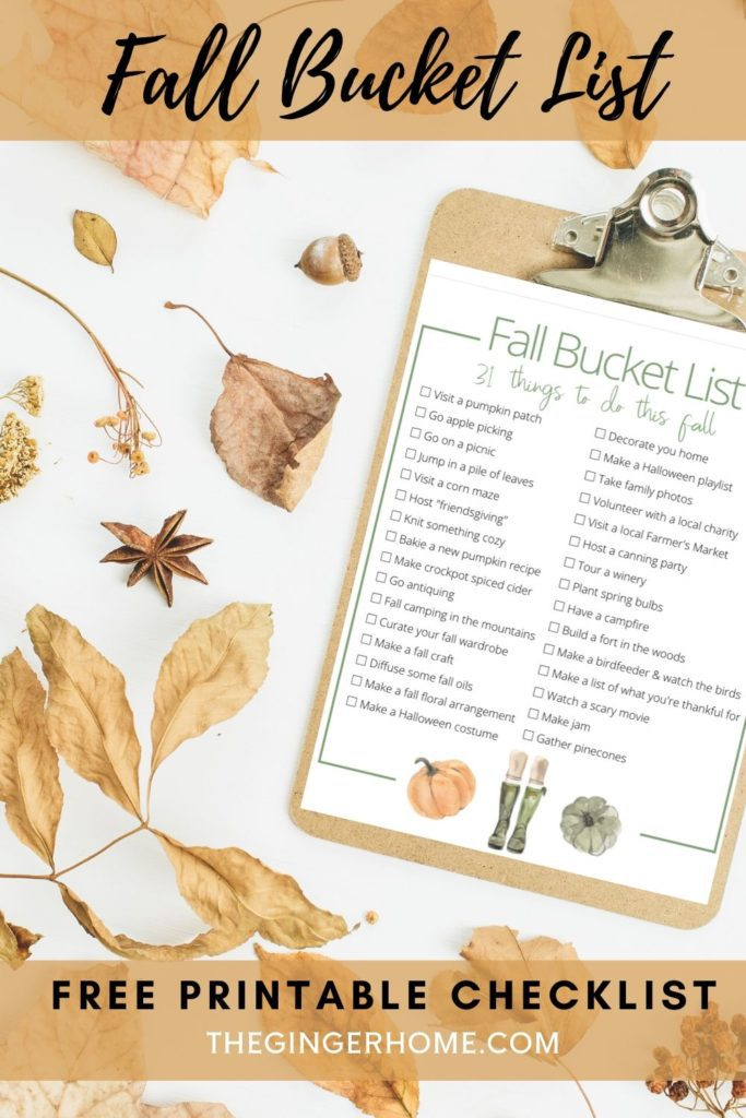 31 Activities to try this fall! Free printable so you can check off your bucket list items as you go!