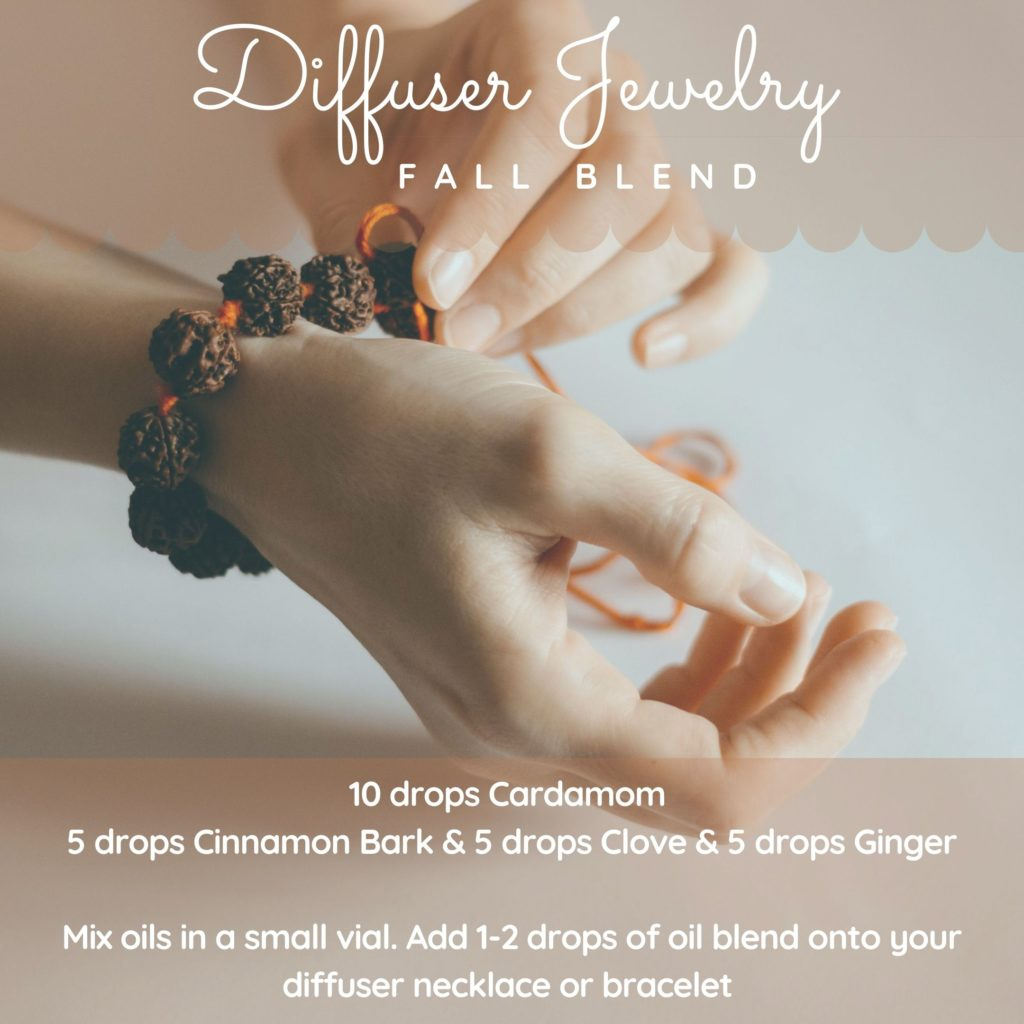 Fall essential oil blend for diffuser jewelry recipe