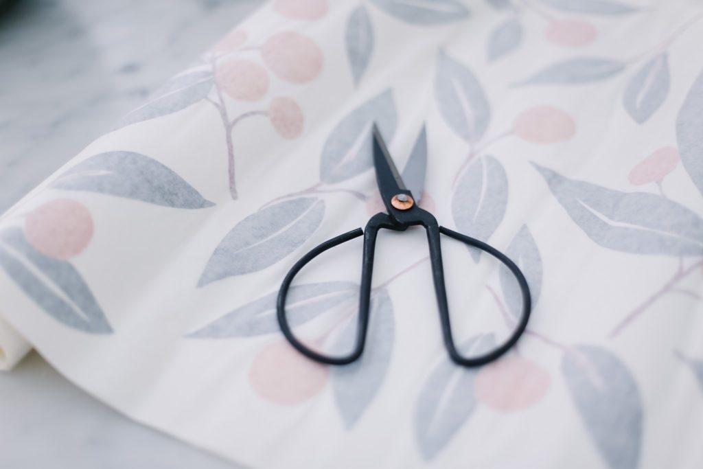 scissors on tangerine wall decal sheet
