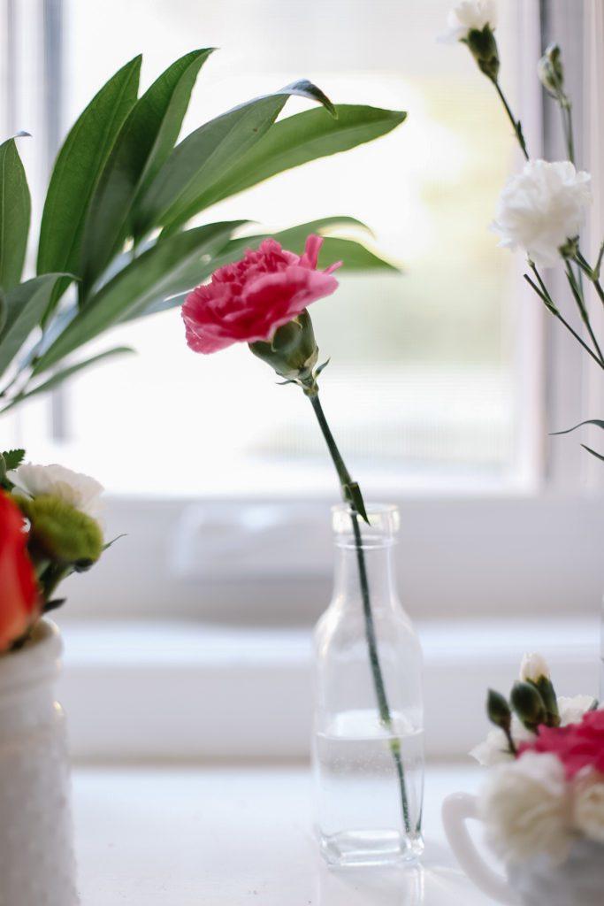 Simple pink flower in bud vase