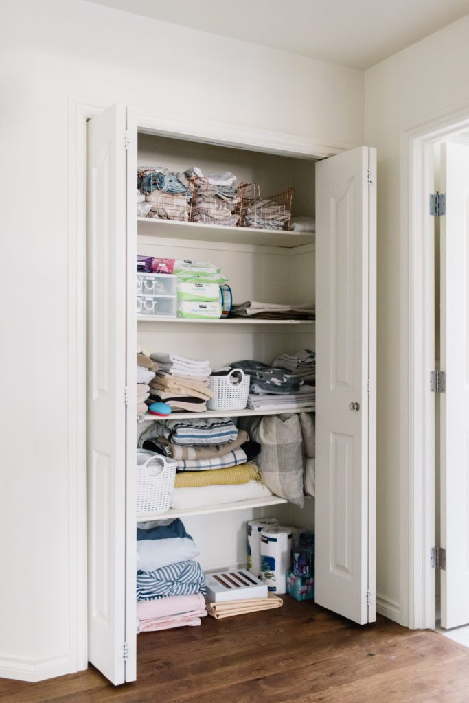 Linen closet before being made over.