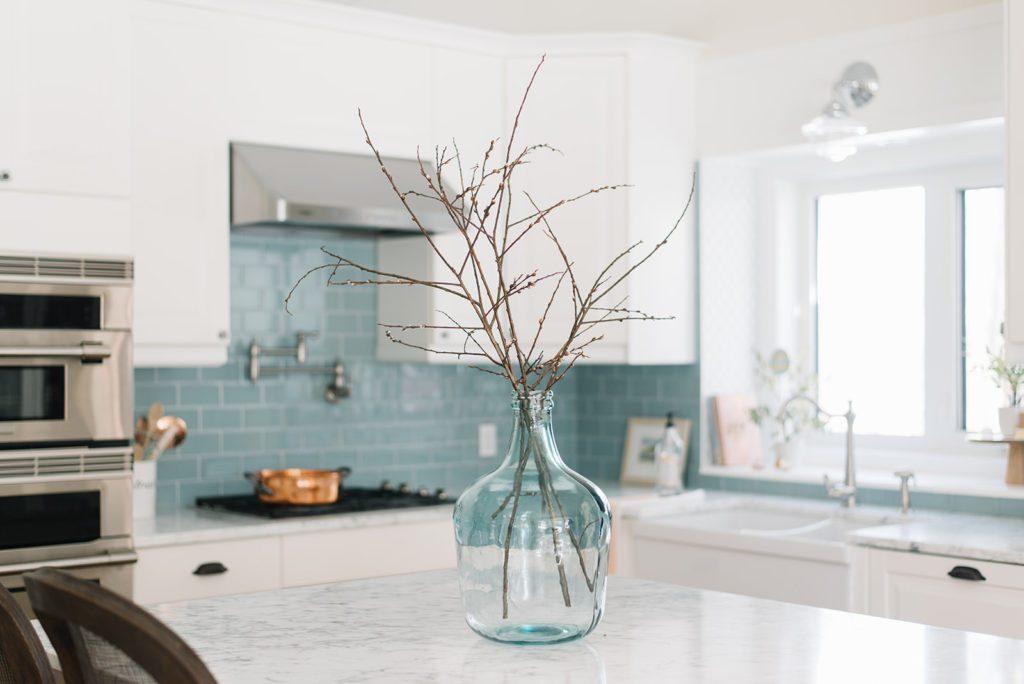 Foraged branches in kitchen