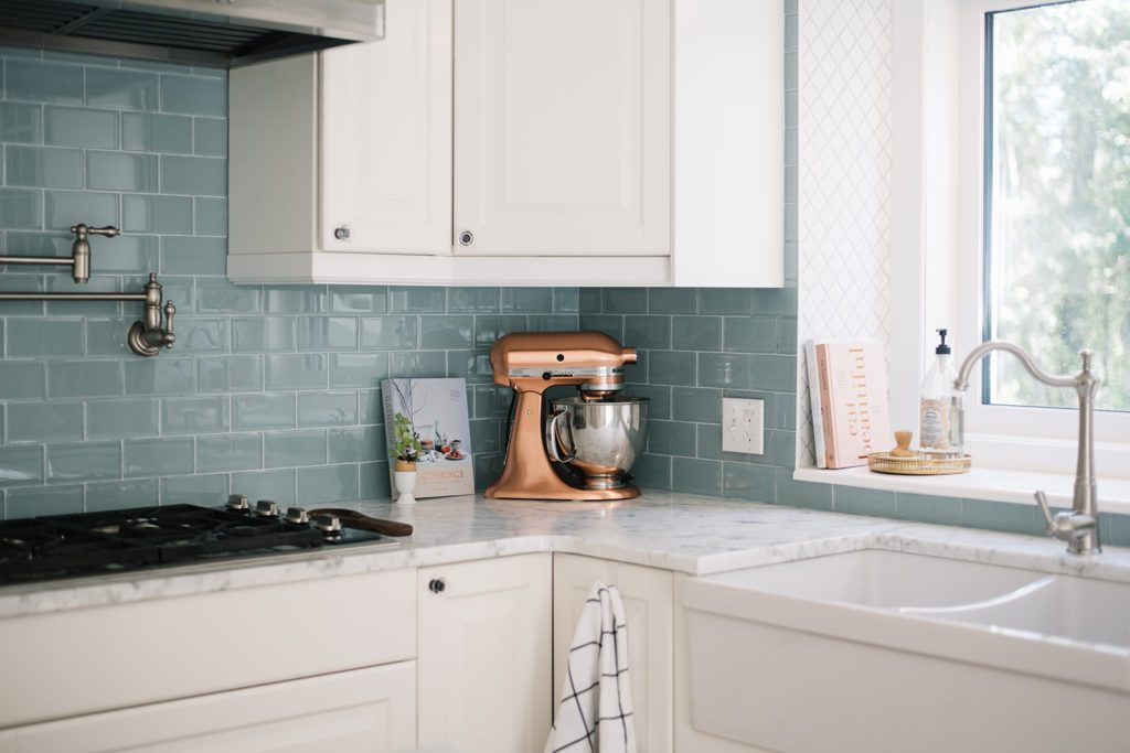 Copper Kitchen Aid mixer in kitchen as fall decor