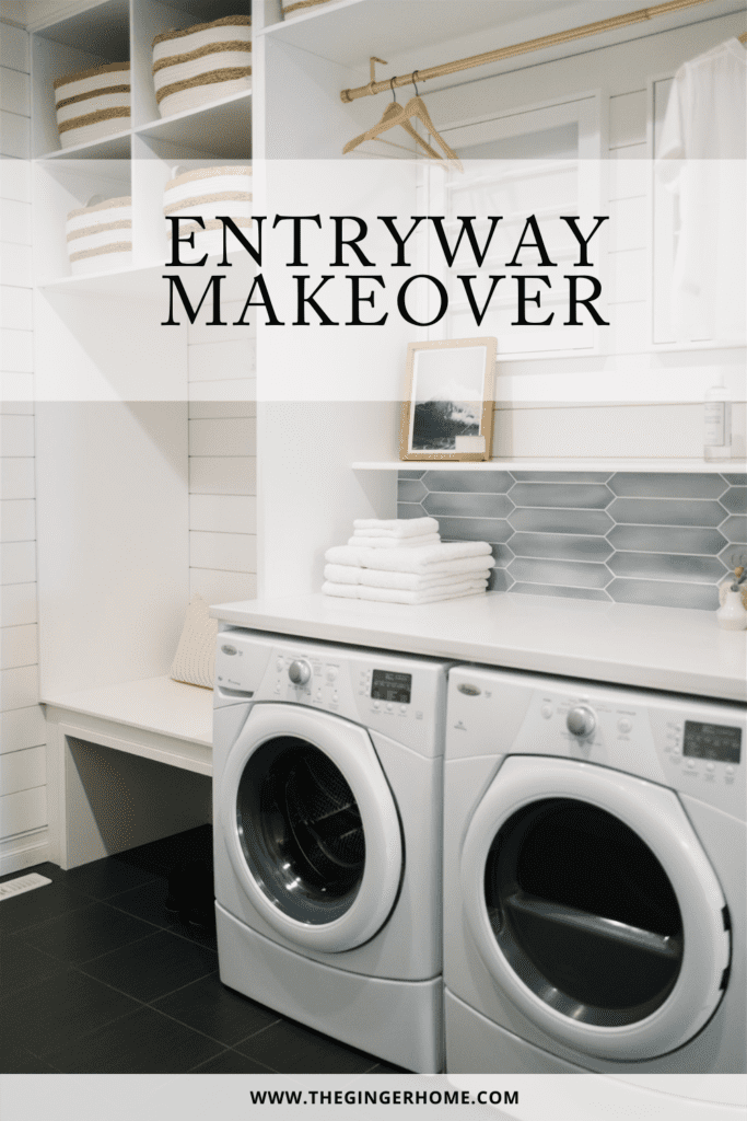 Laundry room with washer, dryer, and lots of storage. Entryway makeover graphic