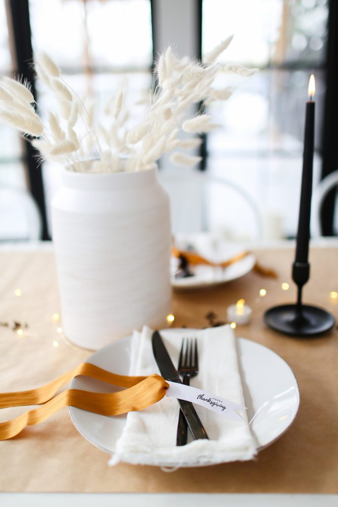 Scandinavian Thanksgiving tablescape with printable place cards