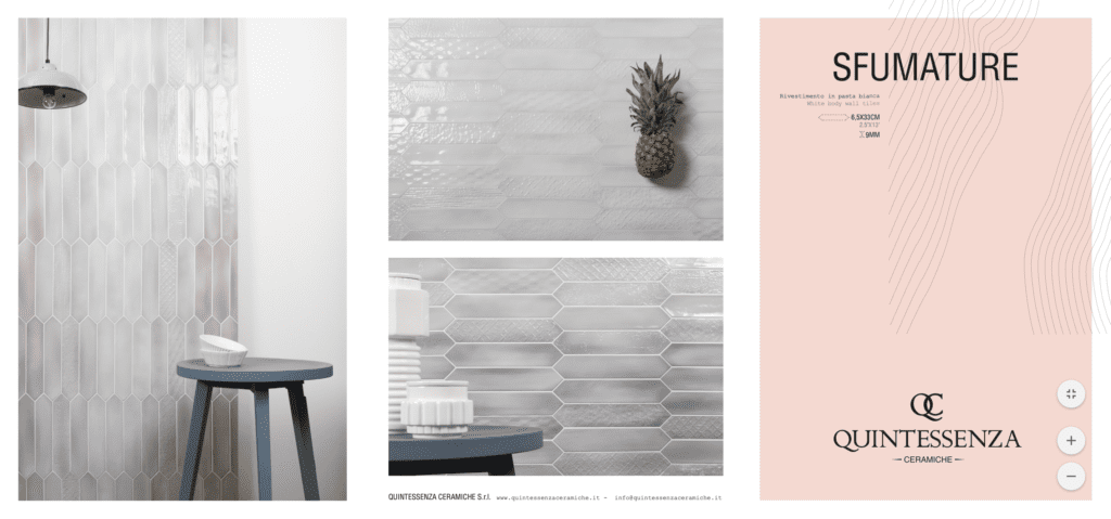 Tile catalogue images of pretty blue and pink tile