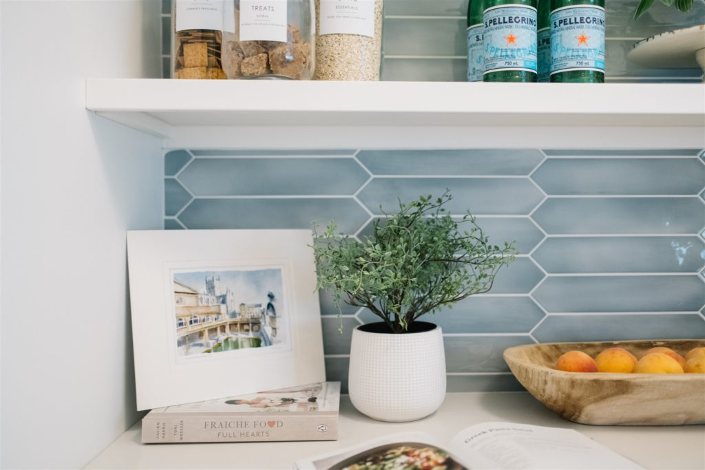 Art and a plant on the kitchen pantry counter