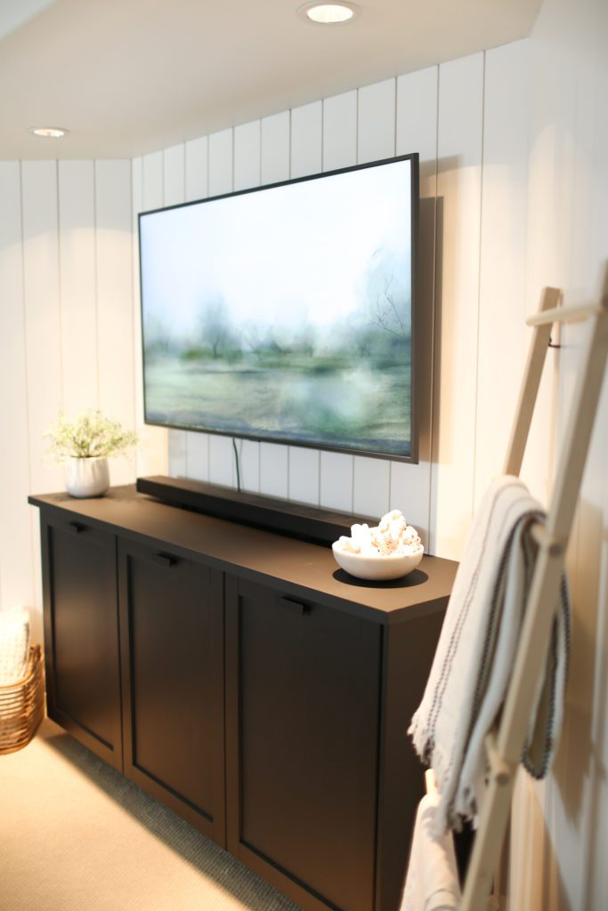 DIY TV Console Ikea Hack in cozy basement family room