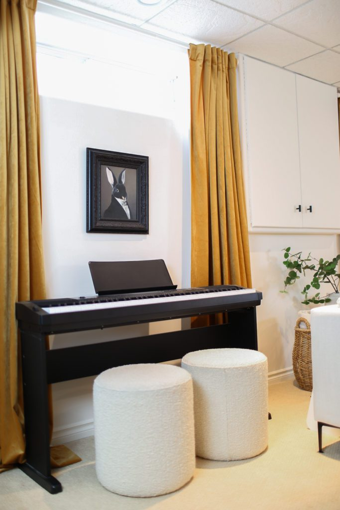 Family room with piano
