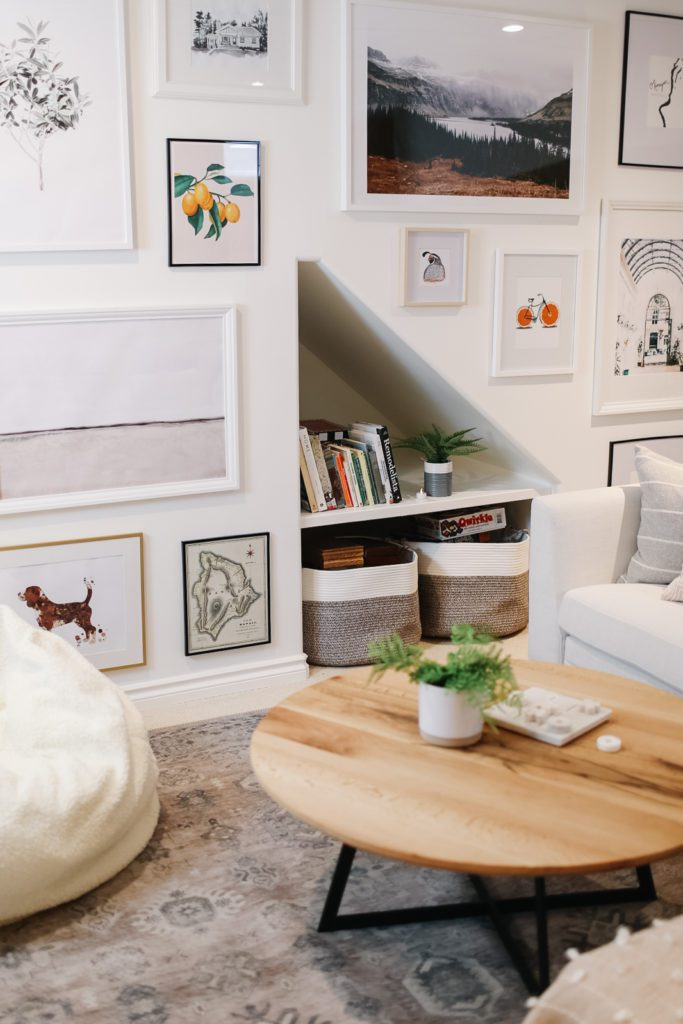 Basement family room gallery wall