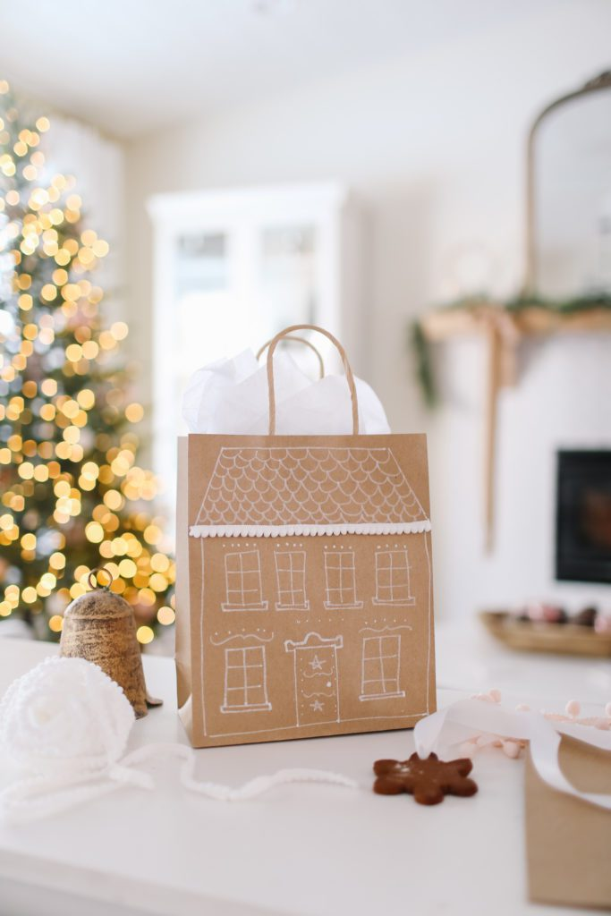 DIY gingerbread house gift bags