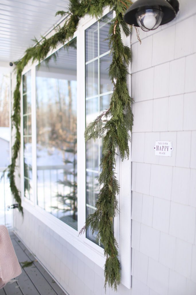 Fresh garland for your Christmas Front Porch