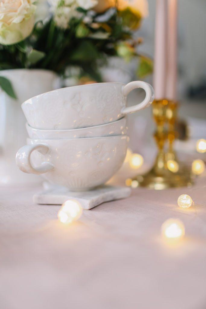 handmade pinched ceramic mugs white
