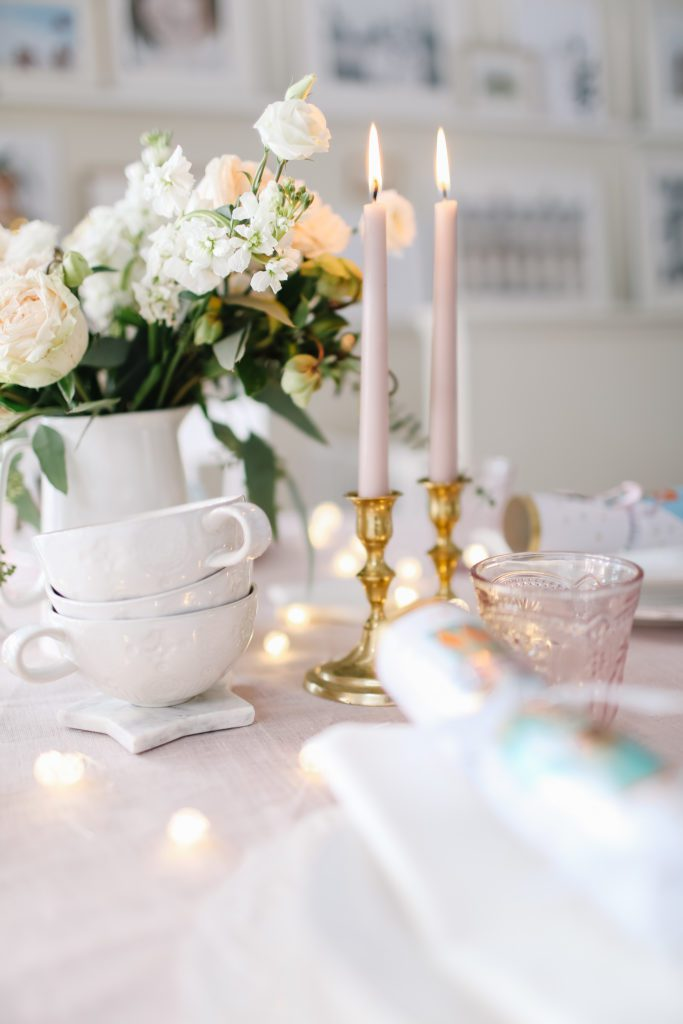 beautiful pink christmas brunch table