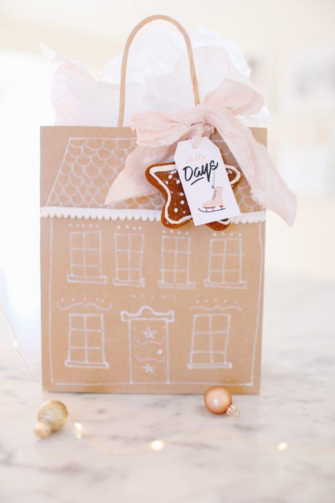 Hand drawn house print gift bag