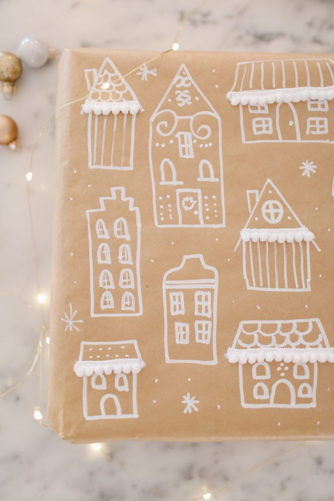 Hand drawn house print kraft wrapping paper.