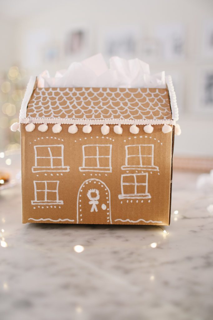DIY Gingerbread Holiday Gift Wrap Idea - Make your own DIY gingerbread house gift box.