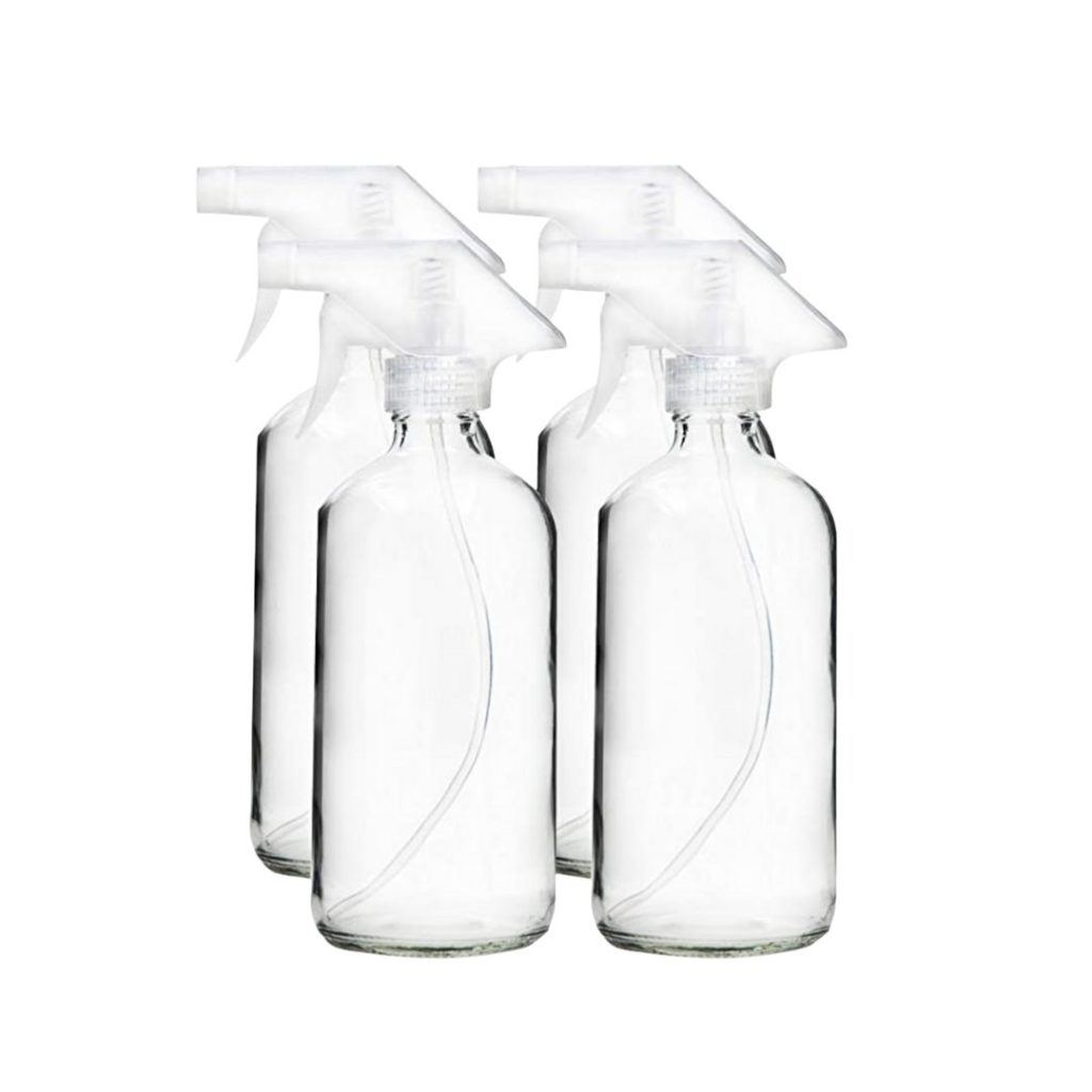 Glass 16oz bottles with white spray tops