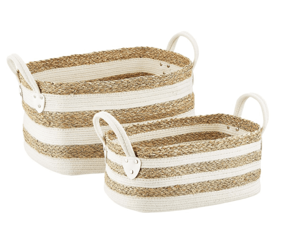 Striped white and seagrass baskets