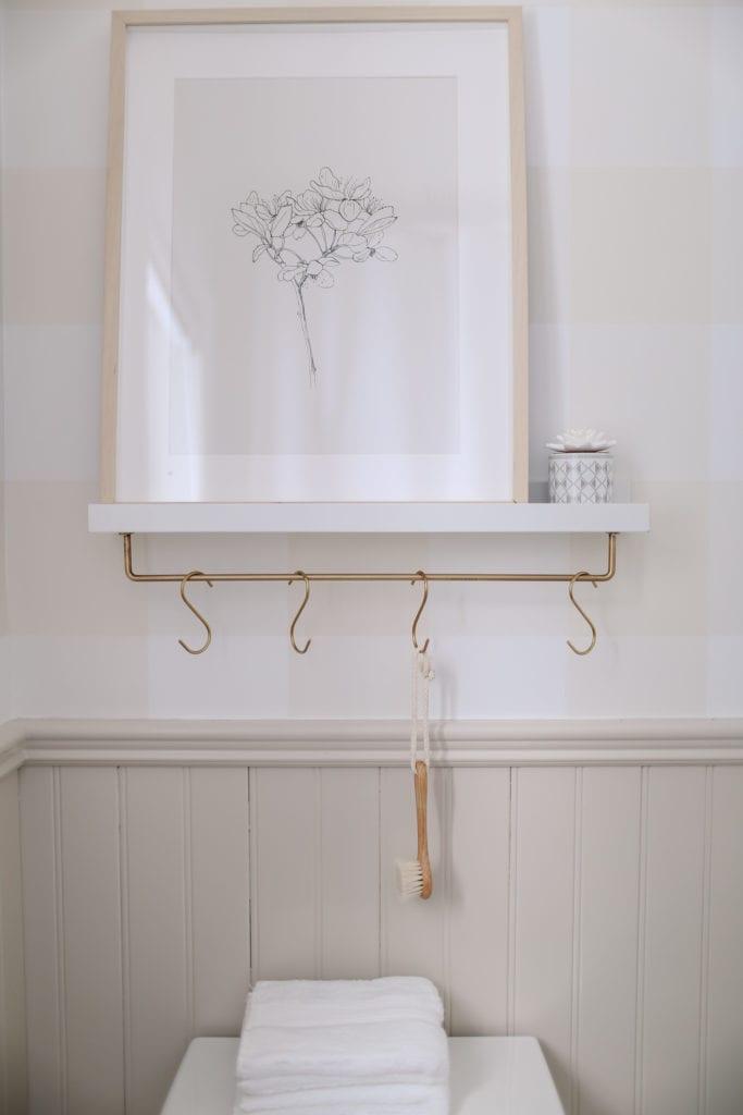 White and brass S  hook shelf DIY