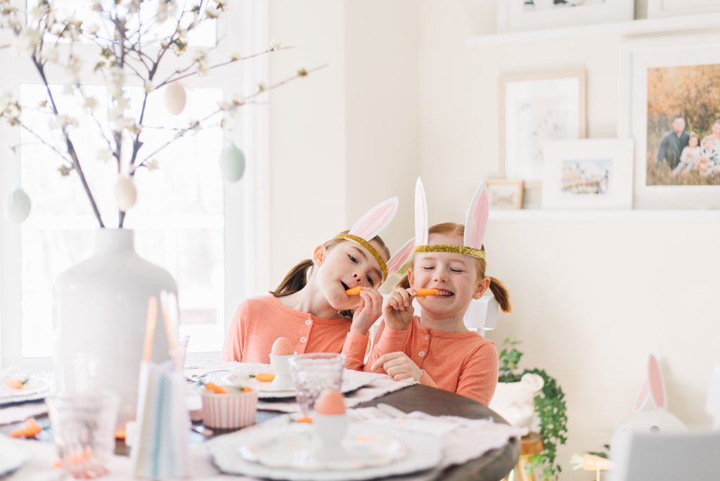 bunny themed kids easter tablescape