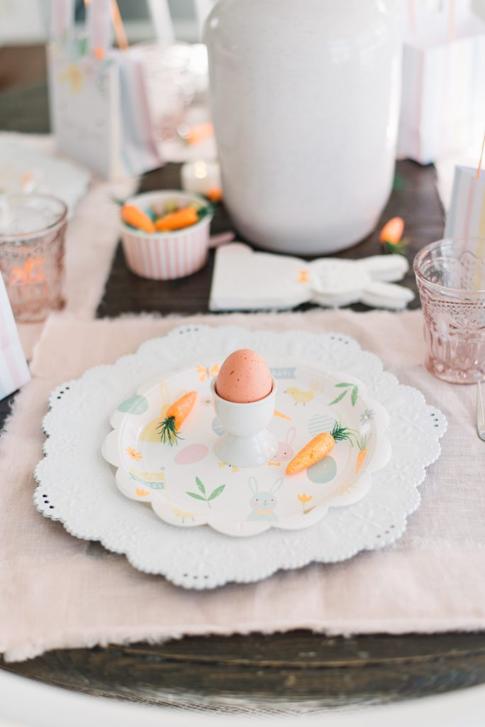 place setting at kids bunny themed easter tablescape