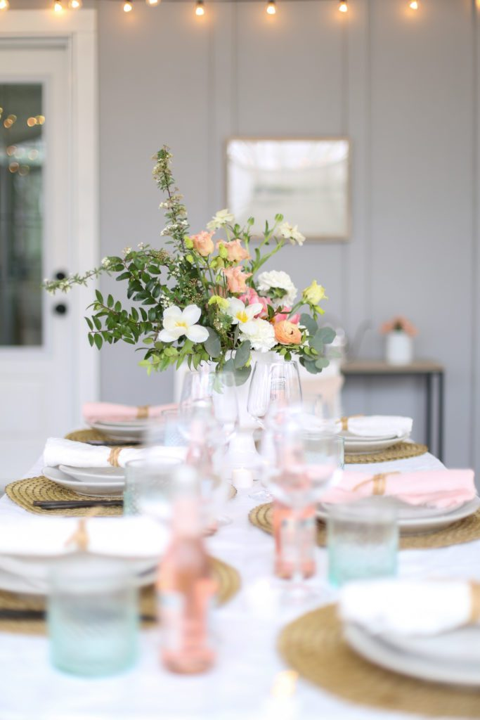 Pink and green Mother's Day tablescape