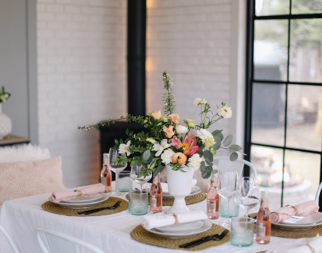 Mother's Day Tablescape with pink and green accessories